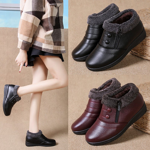 Korean Styled Rounded Toe Winter Boot With Fur For Women