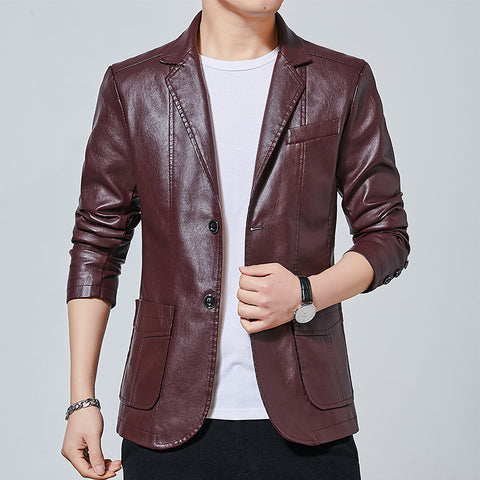 Faux Leather Solid Two Button Men Business Jacket