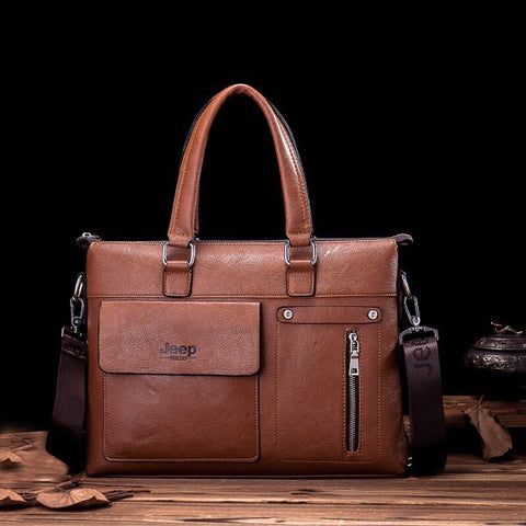 Men's JEEP Leather Business Briefcase Laptop Bag