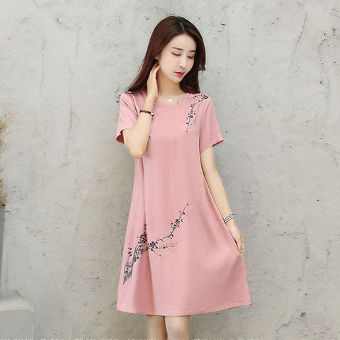 2018 Japanese simple dress women's loose mid-length