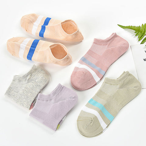 Pack of 5-Women's cotton boat socks_Women's cotton boat