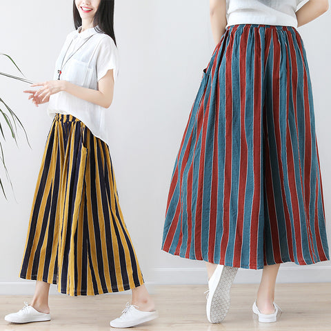 Literary striped loose cotton linen tight waist nine