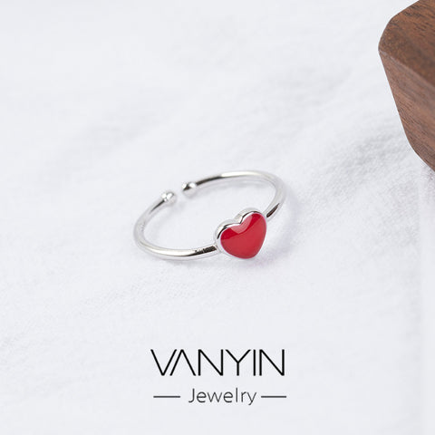 Student jewelry _ Wanying jewelry small red heart ring