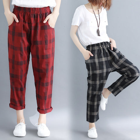 Plaid harem pants _ literary loose plaid elastic waist harem