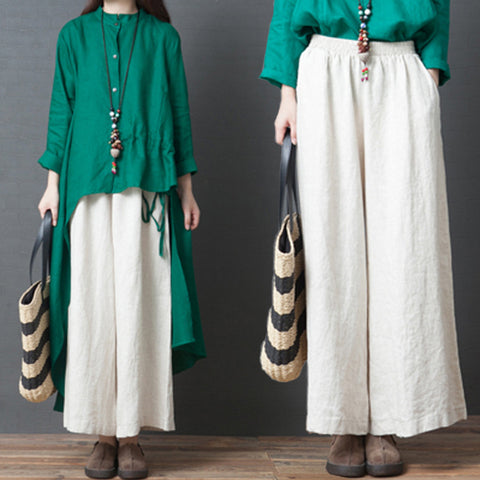 Casual pants _ loose solid color elastic waist wide leg