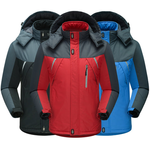 Men Hooded Wind Proof Thermal Outdoor Quilted Jacket