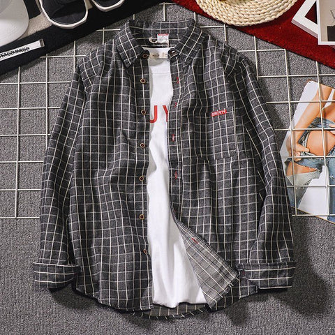 Long-sleeved shirt _ men's shirt spring and summer new plaid