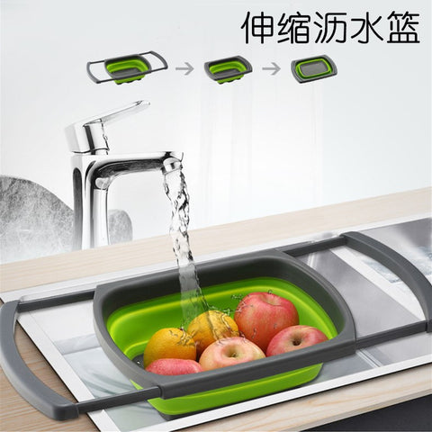 Rectangular basket_Retractable fruit basket, kitchen sink,