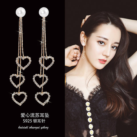 Tassel Earrings_Diamond Tassel Earrings Korean Face Thin