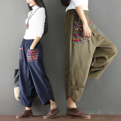 Women's pants _ ethnic style patchwork cotton and linen