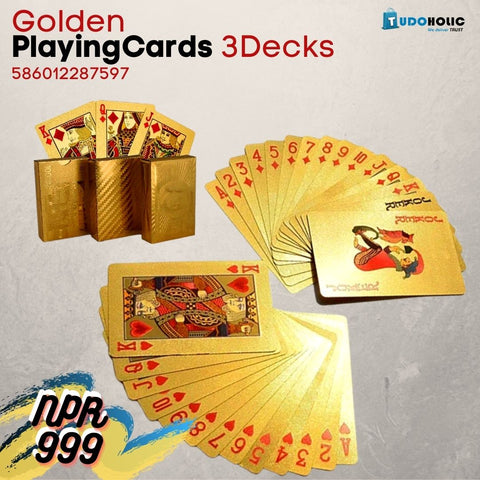 CHINA SALE-   SET OF 3 GOLDEN PLAYING CARDS DECK GOLD FOIL