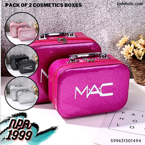 Pack of 2 Cosmetic Bags Set of Large & Medium Size