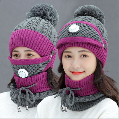 Set of 3 Fog Beanies Winter Hats Thick Velvet Bib For Women
