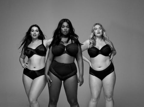 three strong women standing together in lingerie