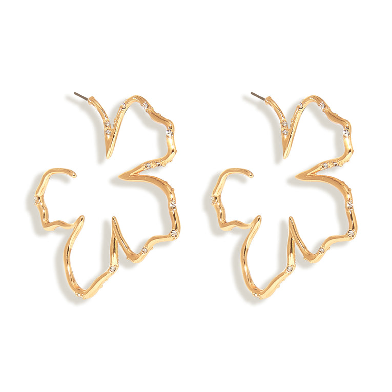 Simone Sculptural Floral Hoop Earrings Gold