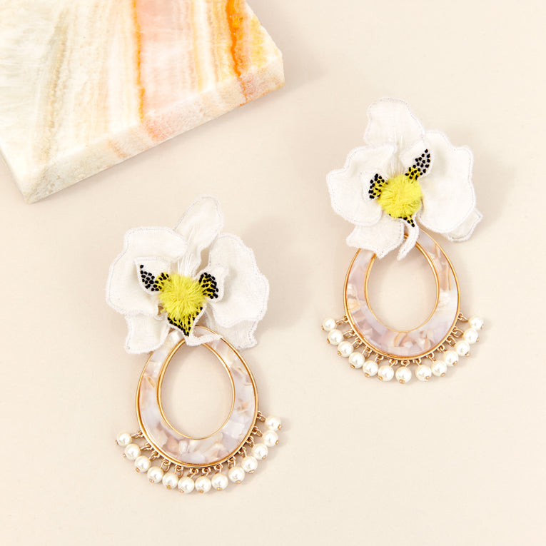 Orchid Swing Earrings White