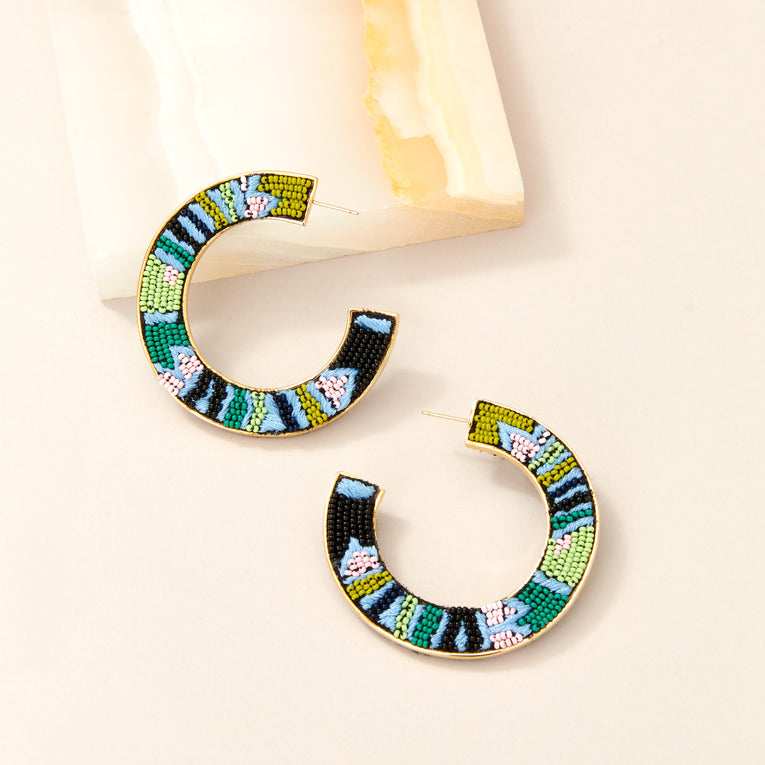 Beaded Fiona Hoop Earrings Blue/Green