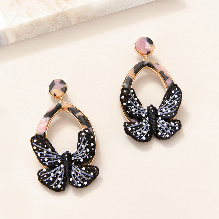 Butterfly Swing Earrings Black/White