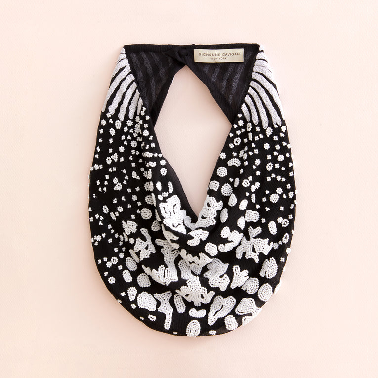 Kenya Scarf Necklace Black/White