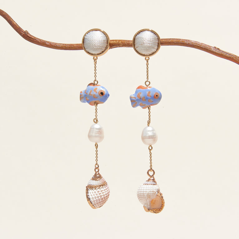 Amani Dangle Earrings Blue