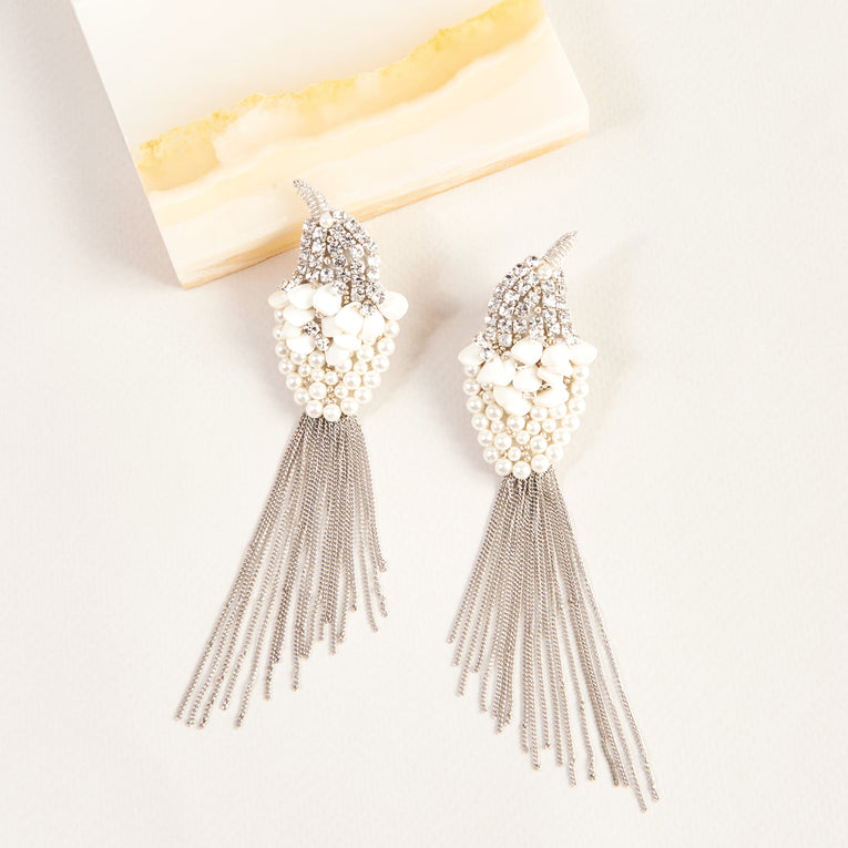 Mignonne Gavigan Crystal Bird Earrings White