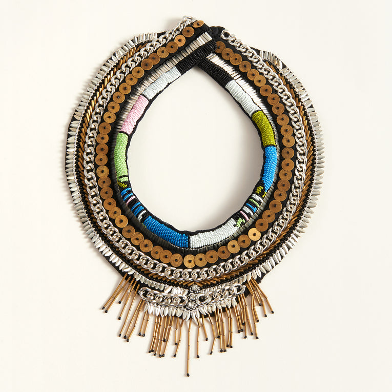 Beaded Petite Layne Necklace Blue/Green