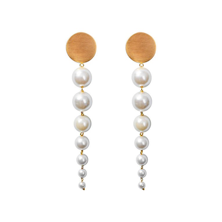 Mignonne Gavigan Lucy Pearl Earrings in white gold color