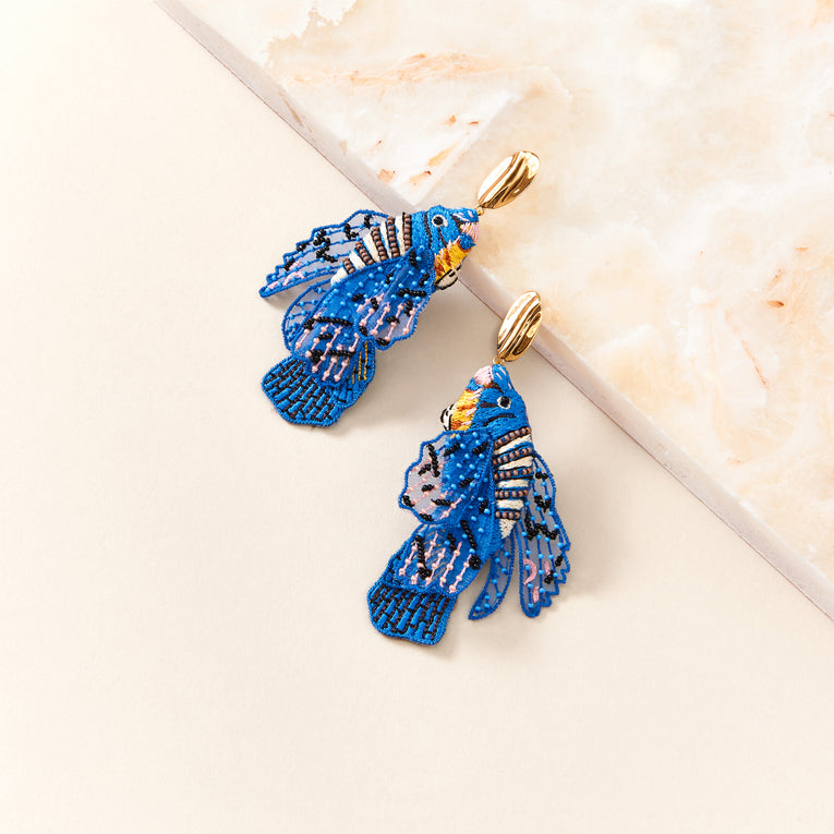 Beta Fish Earrings Blue