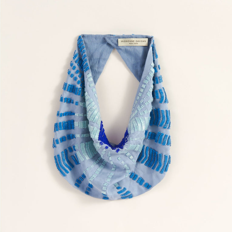 Skylar Scarf Necklace in Blue