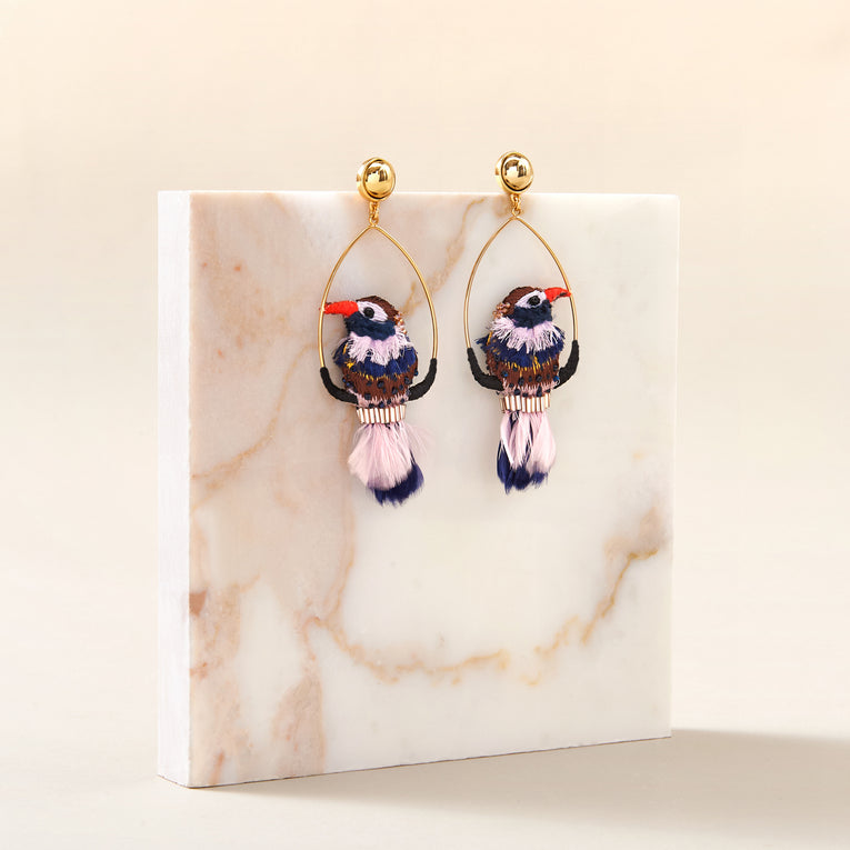 Woodpecker Swing Earrings in Purple