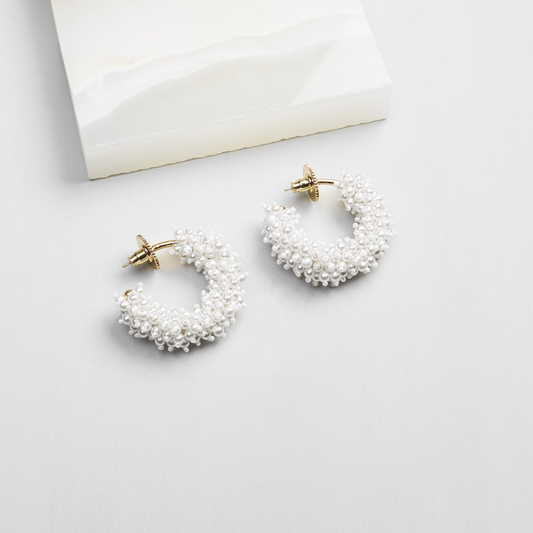 Mignonne Gavigan Taylor Mini Hoop Earrings in white gold color