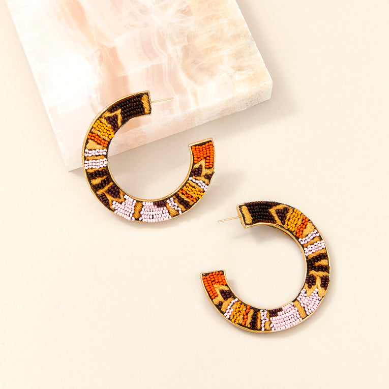 Beaded Fiona Hoop Earrings Pink/Orange
