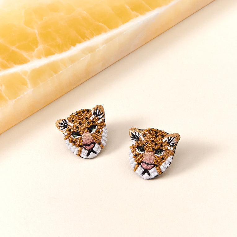 Mignonne Gavigan Leopard Stud Earrings in nude and black