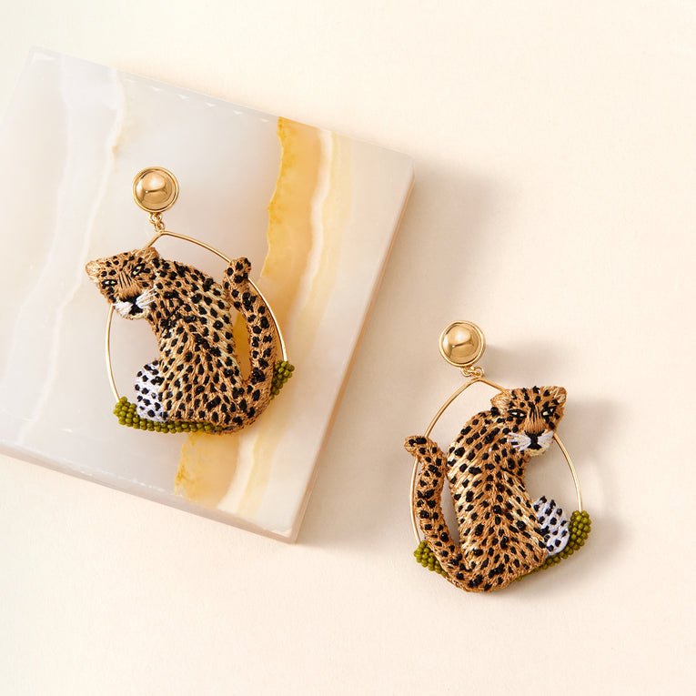 Mignonne Gavigan Leopard Swing Earrings Nude/Black