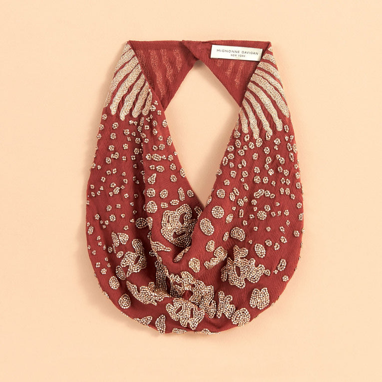 Mignonne Gavigan Kenya Scarf Necklace in maroon gold color