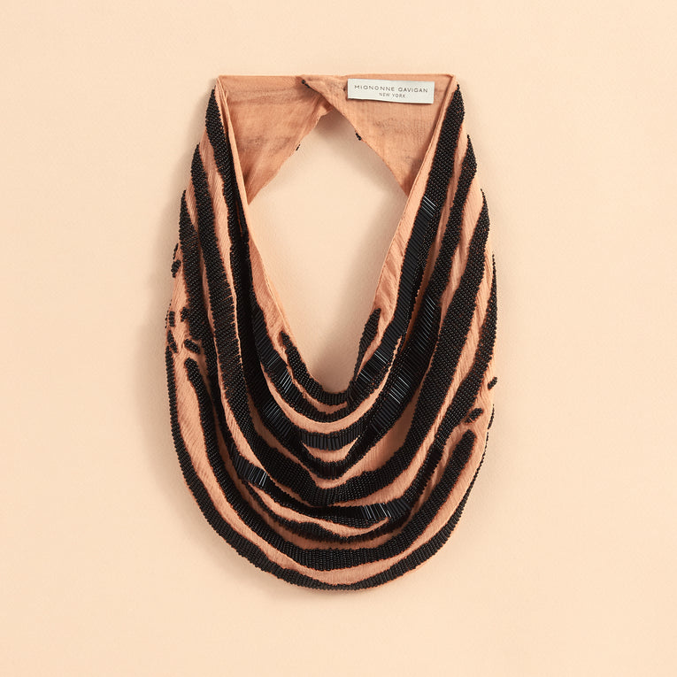 Mignonne Gavigan Zebra Scarf Necklace in nude black