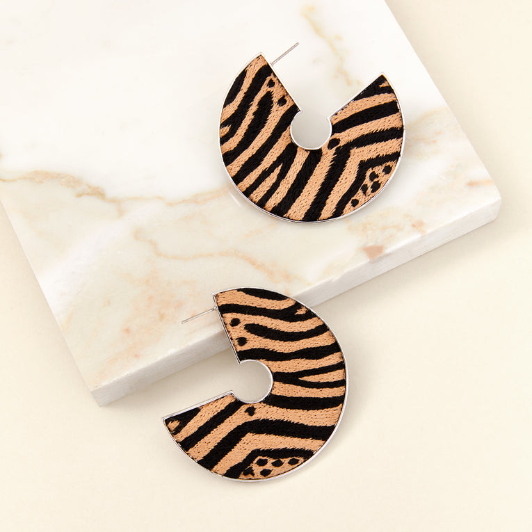 Mignonne Gavigan Zebra Mega Fiona Hoop Earrings in nude and black