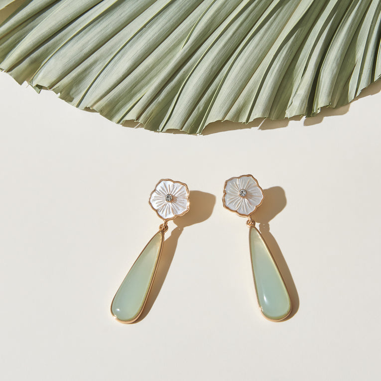 Flora Drop Earrings Mint