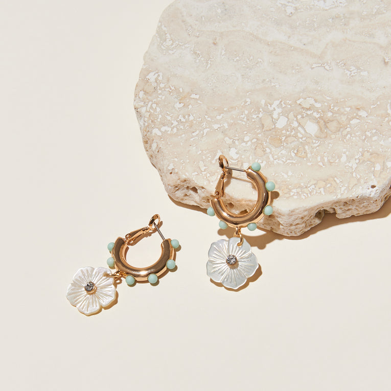 Mini Flora Hoop Earrings Gold White