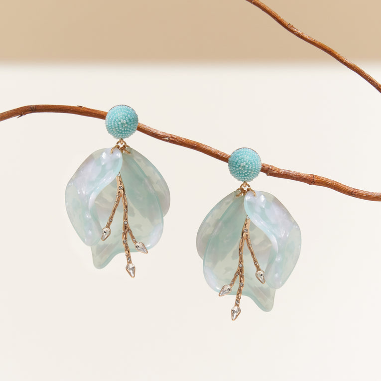 Plumeria Earrings Mint