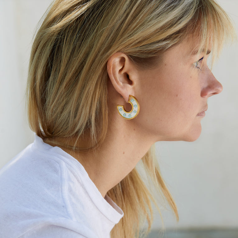 Mother of Pearl Mini Fiona Hoops White Mint