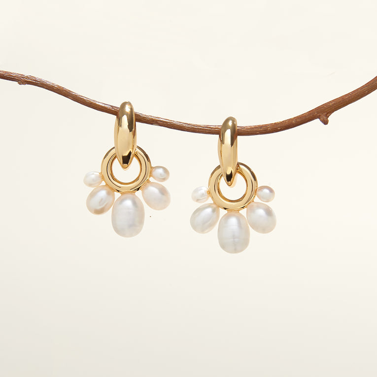 Margot Pearl Drop Earrings White Gold