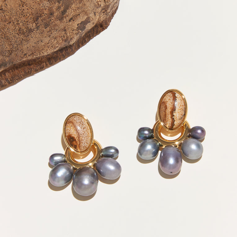 Adelaide Pearl Drop Earrings Jasper