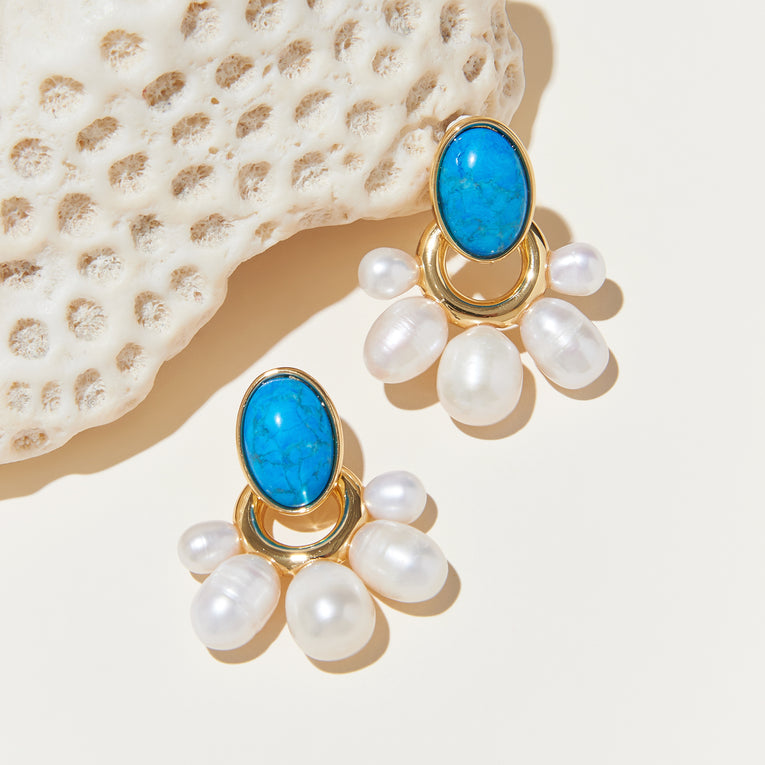 Adelaide Pearl Drop Earrings Turquoise