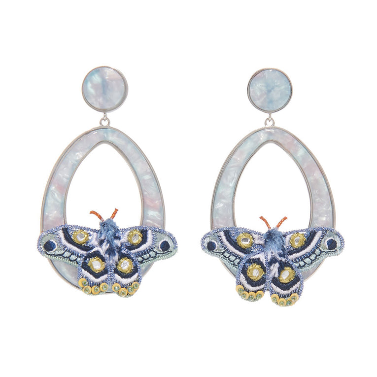 Mignonne Gavigan Atlas Moth Swing Earrings in blue color