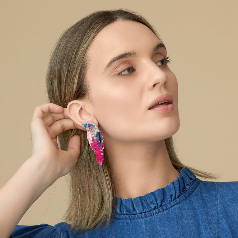 Mignonne Gavigan Bird earrings in Hot Pink