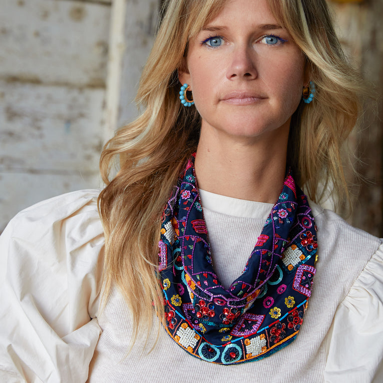 Mignonne Gavigan Boot Stitch Scarf Necklace Navy Multi