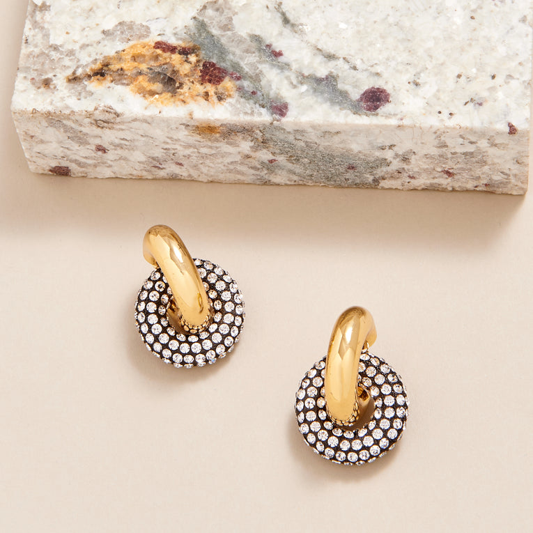 Mignonne Gavigan  Catherine Pave Link Hoop Earrings Gold