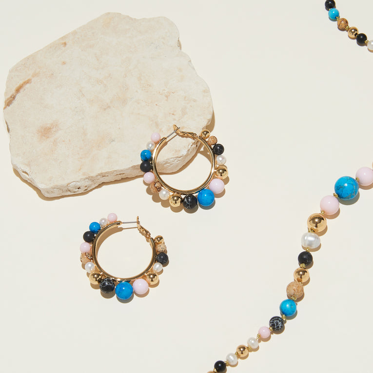 Cleo Beaded Hoop Earrings Multi