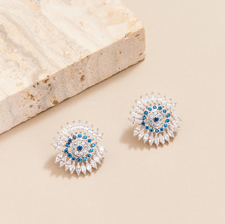 Mignonne Gavigan Crystal Eye Earrings Silver Blue